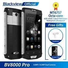 Blackview BV8000 Pro 5 дюймов FHD Водонепроницаемый MT6757 Восьмиядерный 6 ГБ + 64 ГБ отпечатков пальцев 4 г смартфон 16.0MP Камера Quick Charge NFC