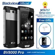 Blackview BV8000 Pro 5inch FHD Waterproof MT6757 Octa Core 6GB+64GB Fingerprint 4G Smartphone 16.0MP Camera Quick Charge NFC
