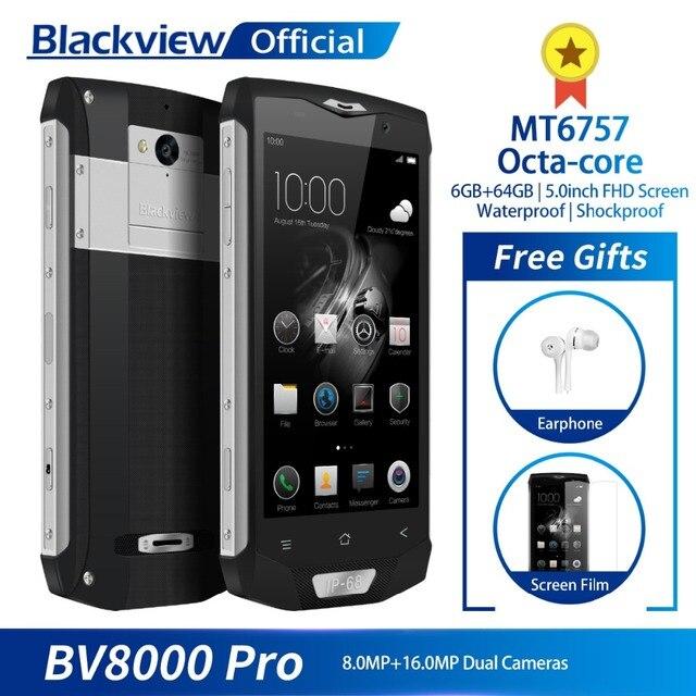 Blackview BV8000 Pro 5inch FHD Waterproof MT6757 Octa-Core 6GB+64GB Fingerprint 4G Smartphone 16.0MP Camera Quick Charge NFC