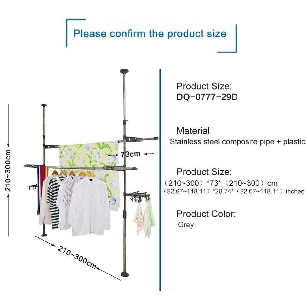 Cabides de secagem cabides rack de vestuário cabide cabides de secagem de chão ao teto ajustável rack de secagem + clip DQ0777 29D - 2