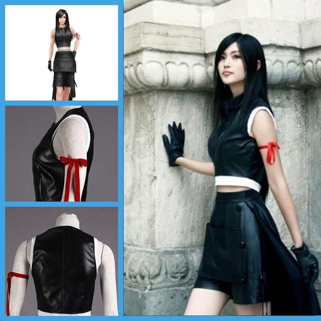 Final Fantasy Costume Tifa Lockhart Cosplay Costume Women Black Long Cloak cosplay  Costume Black Party Club Costume dfe6567dce