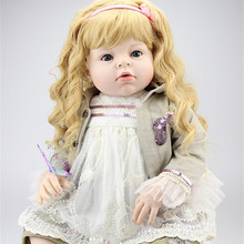New Arrival 70 cm 28 Inches Yellow Wavy Hair Real Touch Silicone Reborn Baby Dolls Lifelike Big Size Baby Clothing Model Girls