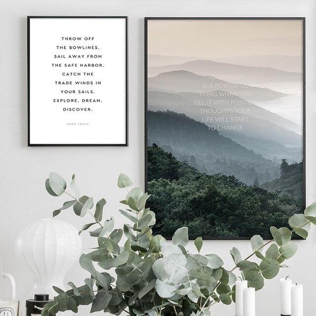Wall Art Landscape Canvas Poster Nordic Nine Arch Bridge Foggy Forest  3