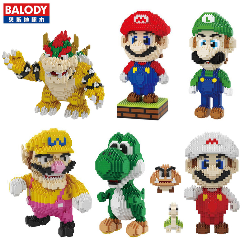 Blocks Toys & Hobbies Super Mario Yoshi Green Dragon Monster 3d Model 2276pcs Diy Mini Diamond Building Nano Blocks Brick Assembly Toy Gift Collection