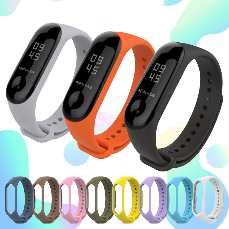 Silicone Smart Bracelet Strap For Xiaomi Mi Band 3 4 Wrist Strap Colorful Pulsera Replacement Sport Wristband Strap For MiBand 3