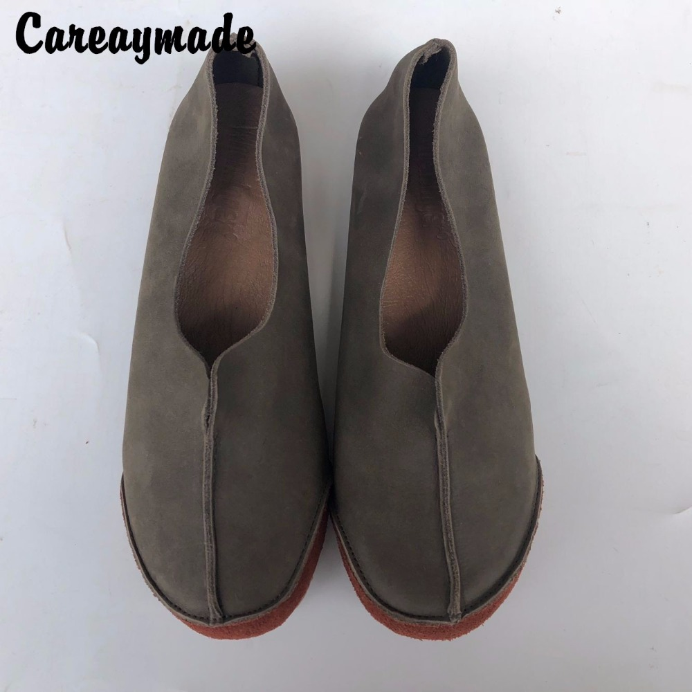 Careaymade-Head layer cowhide pure handmade shoes,the retro art mori girl shoes,Women's casual shoes Flats shoes,2 colors huifengazurrcs new pure handmade casual