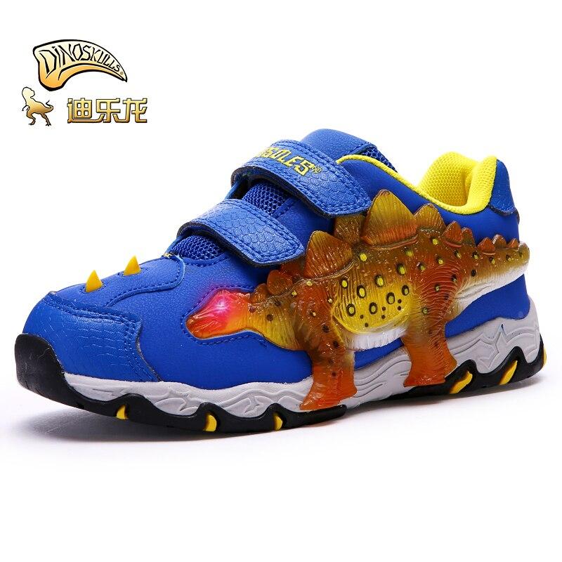 Dinoskulls dinosaure chaussures garçons chaussures avec lumière avec double côtés automne hiver nouvelles led enfants chaussures de Sport pour enfants en cours d'exécution