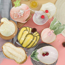 Creative Vegetables Cute Ceramic Dishes Dessert Dish Fruit Snack Storage Tray Simple Lovely Decorative Plate