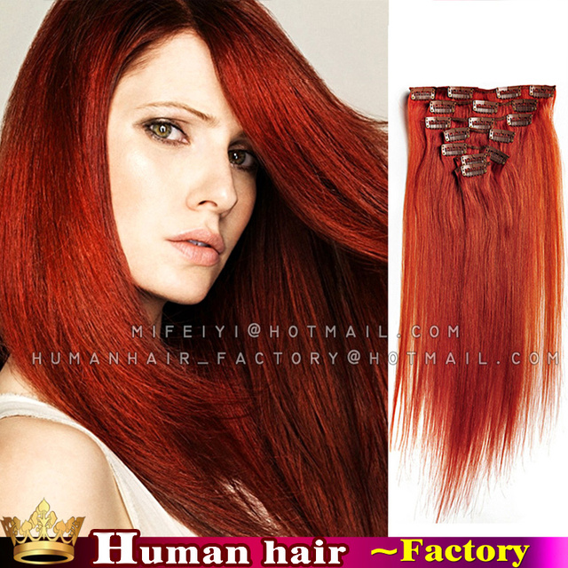7piecesset Brazilian Human Clip In Hair Extension 350 Orange