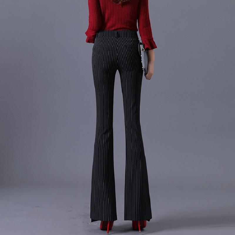 Acrmrac Mujeres Pantalones Negro Cintura Casuales Alta Engrosamiento Flare Raya Delgada Largos OOrfwF1q