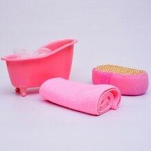 Hot sale 4 Items/set Small Pet Bathtub storage box+Bath luffah brush+bath Sponge+Towel bathroom accessories wood bath set S30D5