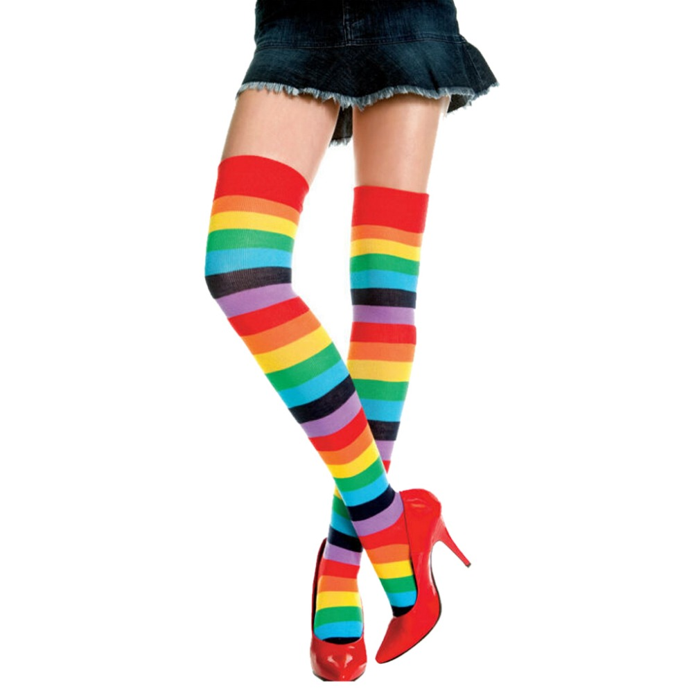 Women's Long Stockings Polyester Mixed Colored Rainbow Striped Knitted Girls Ladies Over the Knee Socks