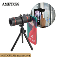 HD Monocular Telescope 18X Optical Zoom Clip Camera Lens Telephoto Waterproof Phone Telescope Universal Phone Adapter Mount Trip
