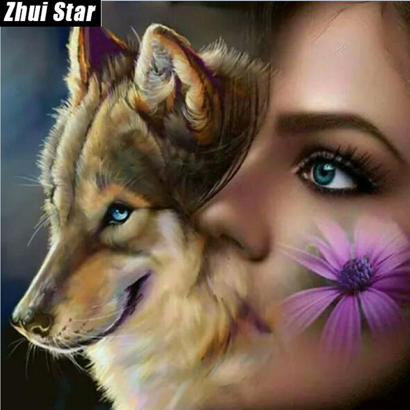 New Full Square Diamond 5D DIY Diamond Painting Wolf and gi Embroidery Cross Stitch Rhinestone Mosaic Painting Home Decor Gift