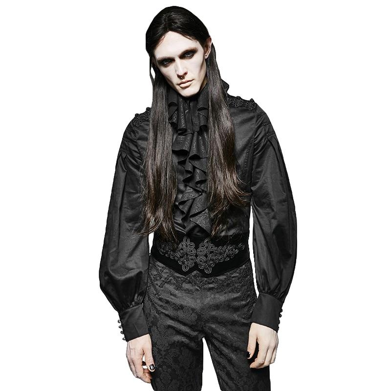 Gothic Black Chiffon Blouses Steam Punk Double Falbala Men's Shirts Long Puff Sleeve Party Tuxode Shirts Top