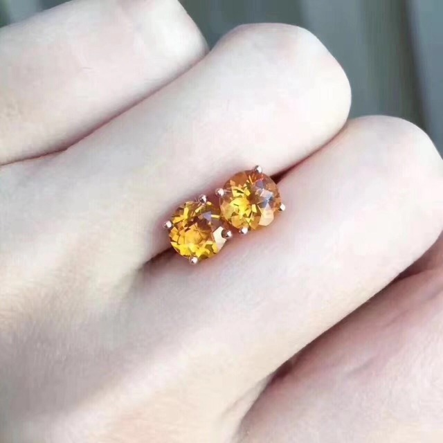 Vintage Crystal Fashion Earrings 925 Solid Sterling Silver Stud For Woman Valentine Gift Natural Yellow Topaz Citrine In From