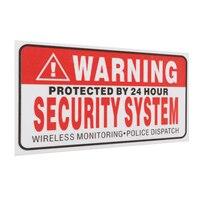 5 шт./компл. Предупреждение защищены на 24 час безопасности Системы наклейки защищенные признаки тревоги наклейка Предупреждение Mark Бизнес 9*5 см стайлинга автомобилей