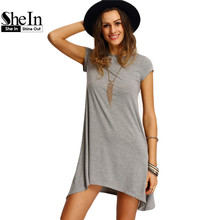 SheIn New Arrival Womens Summer Dresses 2016 Ladies Grey Asymmetric Hem Casual Round Neck Short Sleeve Shift Tees Dress