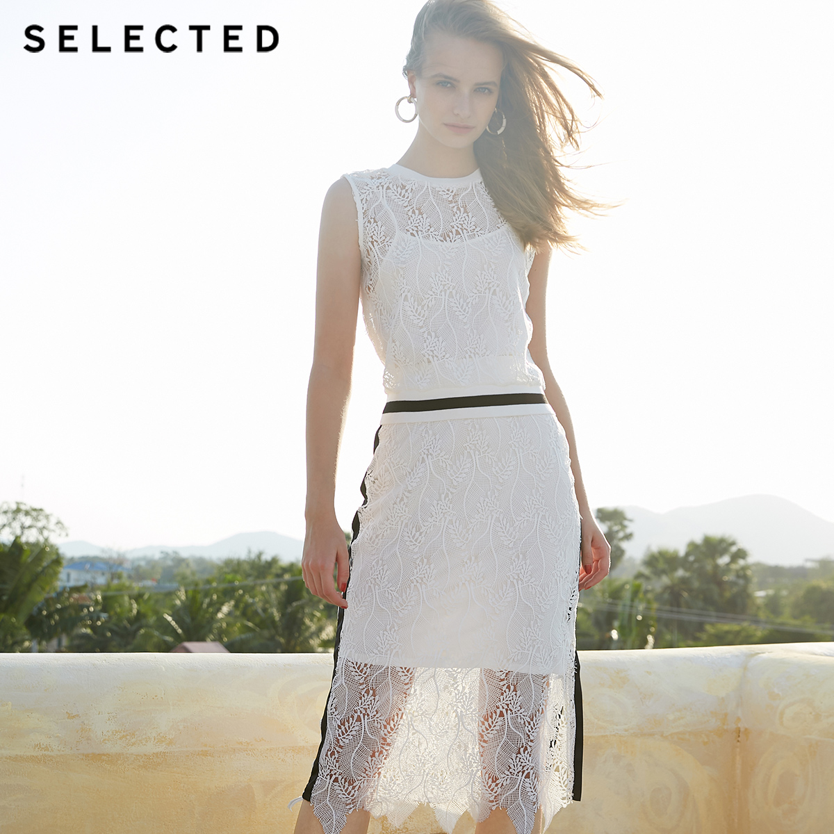 SELECTED Summer Lace Stripe Sleeveless Shoulder Straps Tops S 41926Y509
