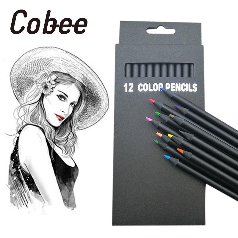 Cobee 12 шт./компл. дети инструмент для рисования Книги по искусству комплект Цветные карандаши Творческий черного дерева Книги по искусству шк...