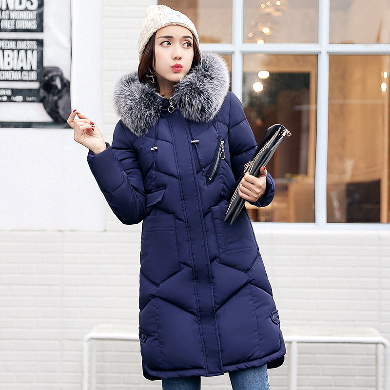 Winter Jacket Women's New Female Padded Jackets Cotton Wave Jacket Girls Big Fur Hooded Warm Parkas Coat Outwear With Big Pocket