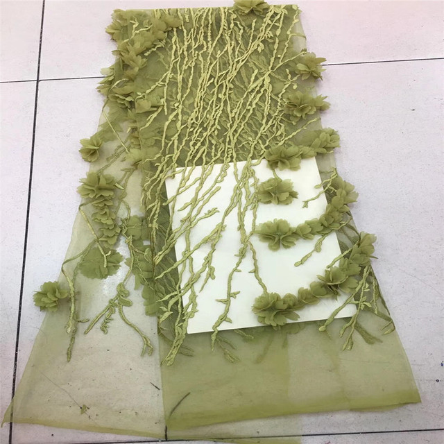 5 yard 3D lace fabric with green flowers, embroidered lace fabric with 3D flowers bridal Lace Fabric,embroidered tulle lace H392