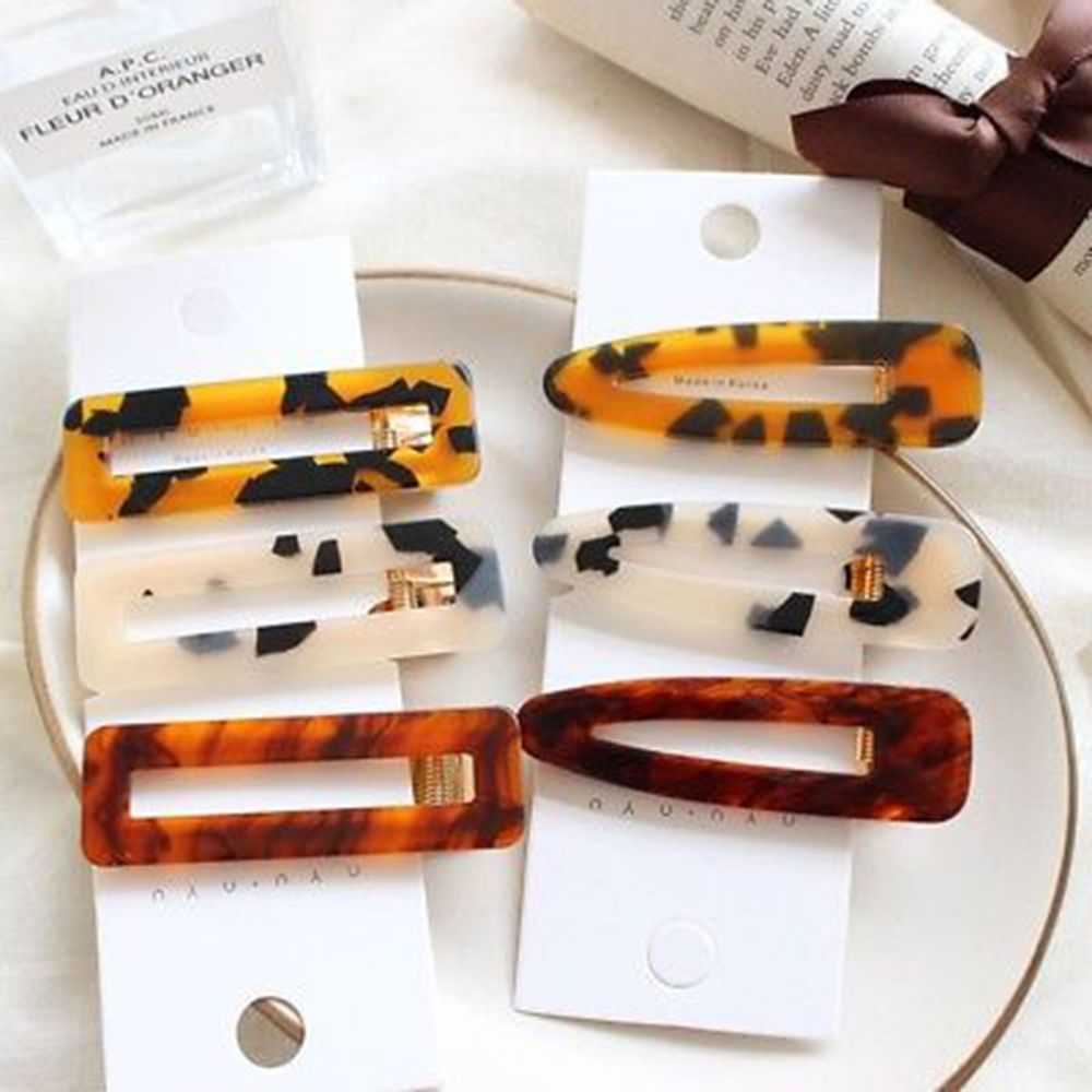 1 pc  Women Japan Acetate Hair Accessories Geometric Leopard Hairpin Hair Clips Vintage BB Clips Barrettes Headwear Fashion