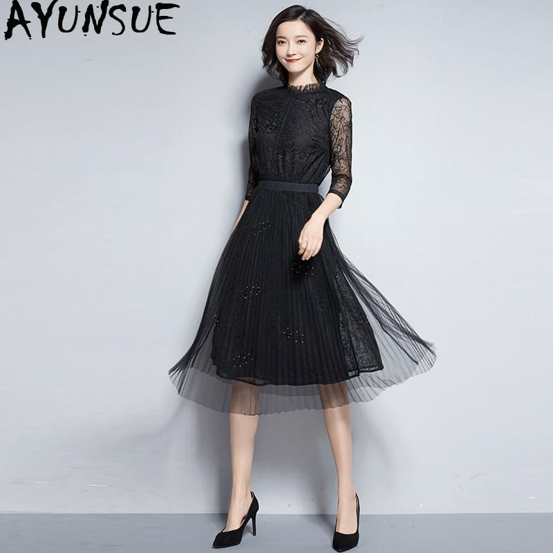93fb5b0d6f1 Femmes Femme Black gray Vintage Robe Dentelle 2019 D été Maxi My2323 Parti  Élégante Robes Pour ...