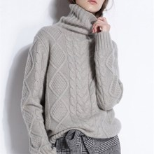 цена на Turtleneck Sweater Female Cable Cashmere Sweater Pullover Knitted Versatile Long Sleeve Bottoming Sweater Thick Loose Couple's
