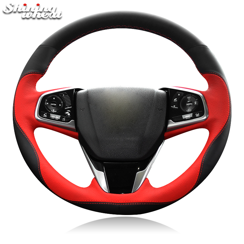 BANNIS Black Red Genuine Leather Car Steering Wheel Cover for Honda Civic Civic 10 2016 2017