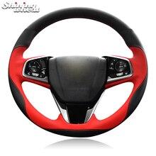 BANNIS черный, красный чехол из натуральной кожи для рулевого колеса автомобиля Honda Civic 10 CRV CR-V