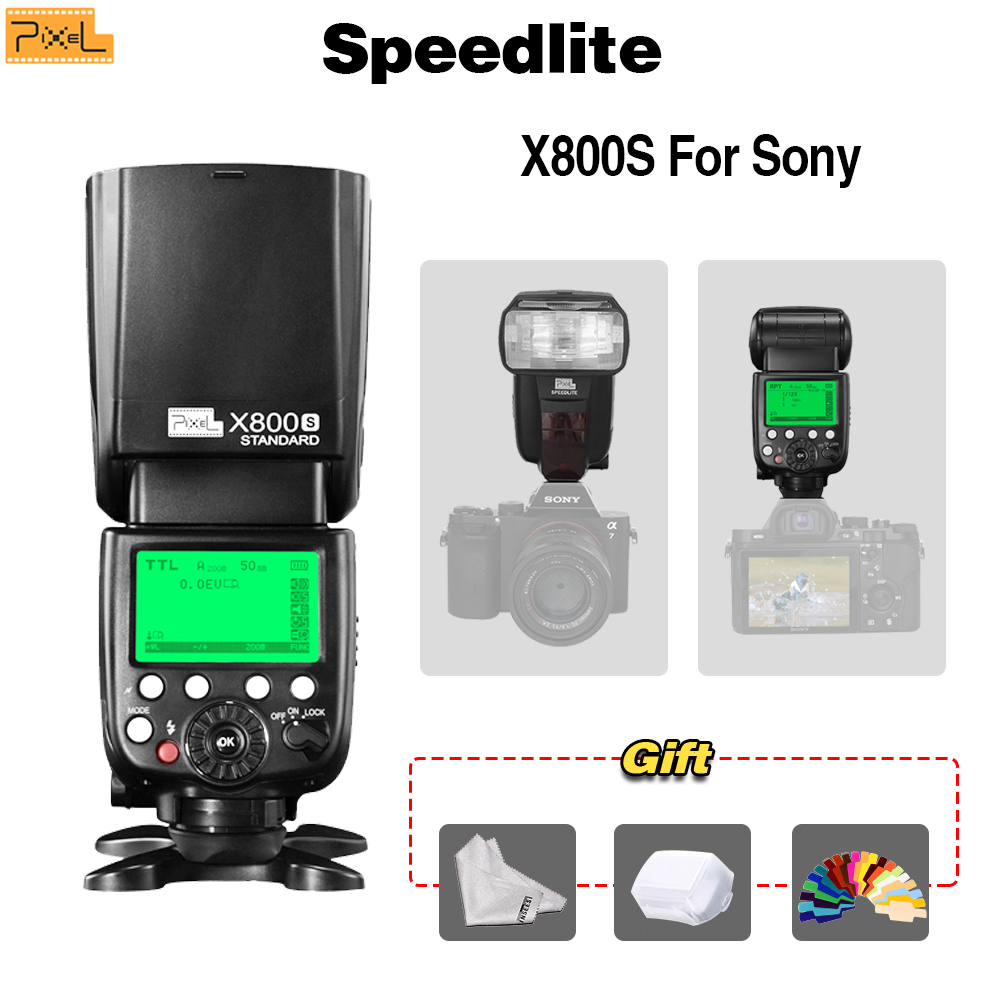 Pixel X800S Std Speedlite For Sony A7 A77 RX1 RX10 Mi Shoe Cameras TTL HSS GN60 LCD Screen 2.4G Wireless Control S1S2 микрофон sony ecm xyst1m фотокамеры серии sony 7 micro serial cameras rx1 и т д основаны на официальном сайте sony