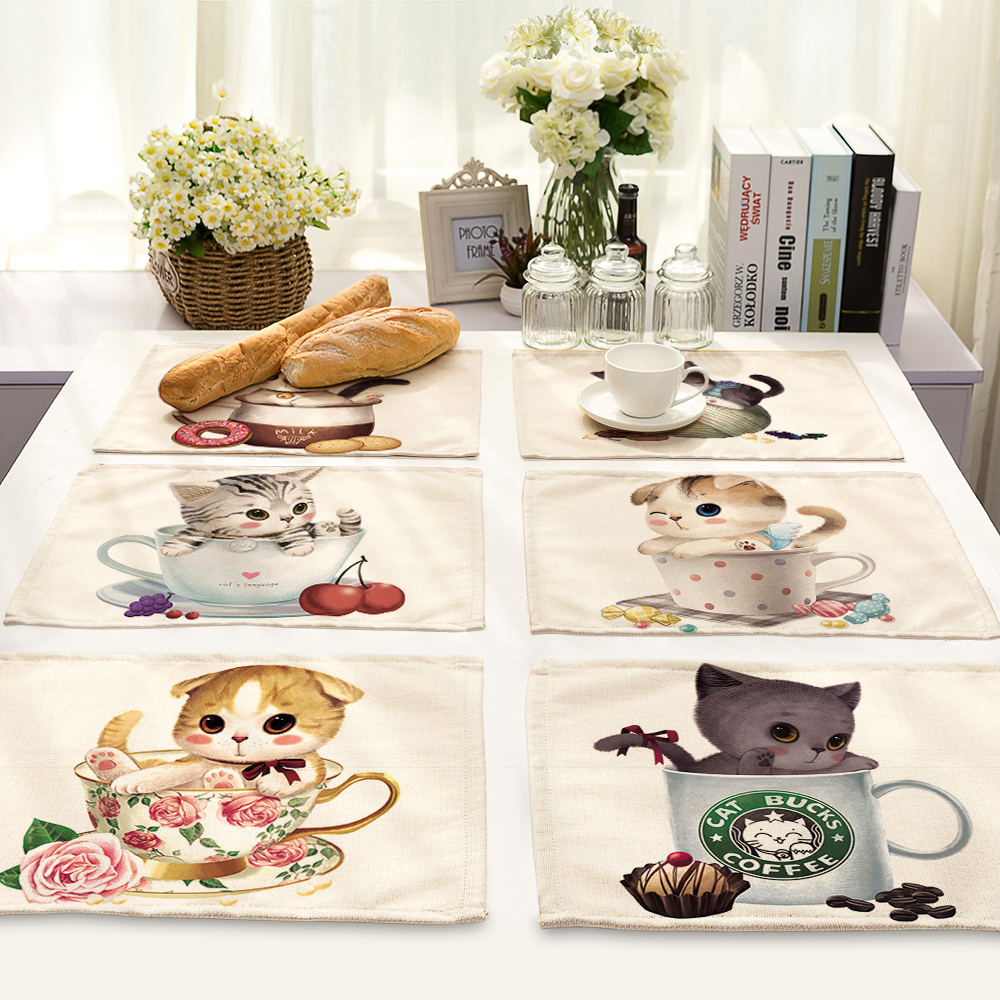 42*32cm cartoon animal cat cups printing Table Dinner Burlap Napkin Placemats For Wedding Party Home Decor Table Napkins