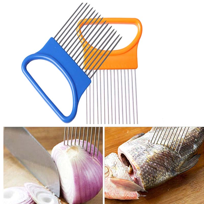 1pcs onion tomato slicer cutting aid guide holder fork stainless steel fruit vegetable slicing cutter kitchen cooking tools