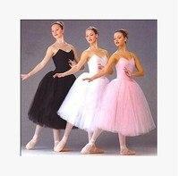 Erwachsene Romantischen Ballett-tutu Rehearsal Praxis Rock Swan Kostüm für Frauen Lange Tüll Kleid Weiß rosa schwarz