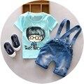Verão Bebê Bonito Dos Desenhos Animados Dos Meninos Camisetas + Denim Jeans Macacões calções Crianças conjunto roupas 2 Peças Ternos Conjuntos Infantis de bebe