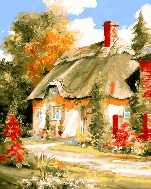 Landscape House Oil paintings by numbers with frame decorative ...