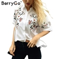 BerryGo hort manga camisa femenina blusas verano Bordado blanco blusas blusa mujeres tops chemise femme S2017