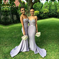 Honey Qiao Bridesmaid Dresses Lavender Long Mermaid Satin 2017 Strapless Sweetheart with Beaded Handmade Flower Long Prom Gowns