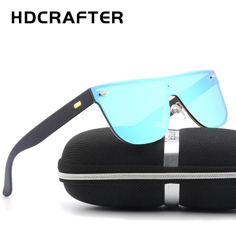 91429666e4d HDCRAFTER Brand Designer Sunglasses Men Oversized Flat Lens Rimless ...
