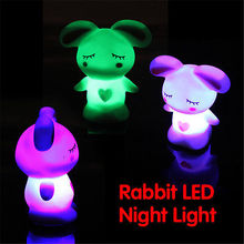 Cute Rabbit LED Animal Night Light Automatic 7-Color-Changing Kids Bedroom Lamp