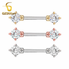 все цены на G23titan 2pc 14G Surgical Steel Zirconia Nipple Piercing Barbell Gold/Rose Gold/Silver Color Nipple Rings Classic Nipple Jewelry онлайн