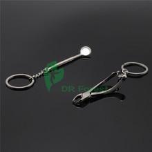 Dental lab 2Pcs Key Ring Chain Tool Cute Mirror Forceps Dentist Promo Gift