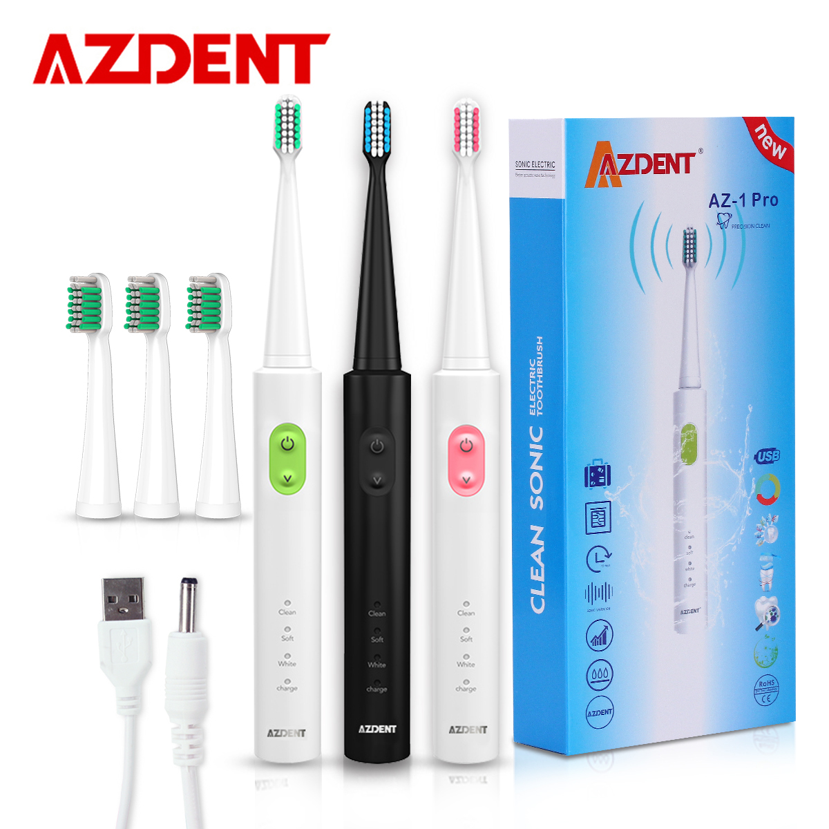 AZDENT New AZ-1 Pro Sonic Electric Toothbrush Rechargeable USB Charge 4 Pcs Replaceable Heads Timer Teeth Tooth Brush Waterproof azdent new az 2 pro electric toothbrush for adults deep clean power battery electric tooth brush 4 replaceable tooth brush head