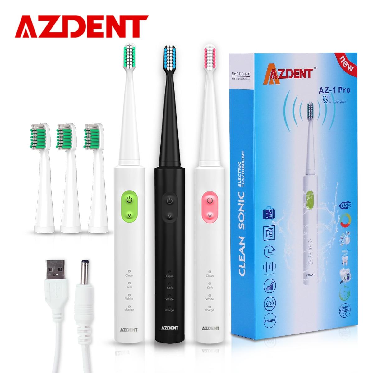 AZDENT Nuovo AZ-1 Pro Sonic Teste Spazzolino Da Denti Elettrico Ricaricabile Carica USB 4 Pz Sostituibile Timer Denti spazzolino Da Denti Impermeabile