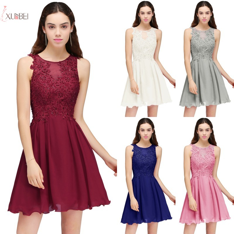 2019 Pink Burgundy Chiffon Short   Bridesmaid     Dresses   Applique Beaded Wedding Party Guest Gown
