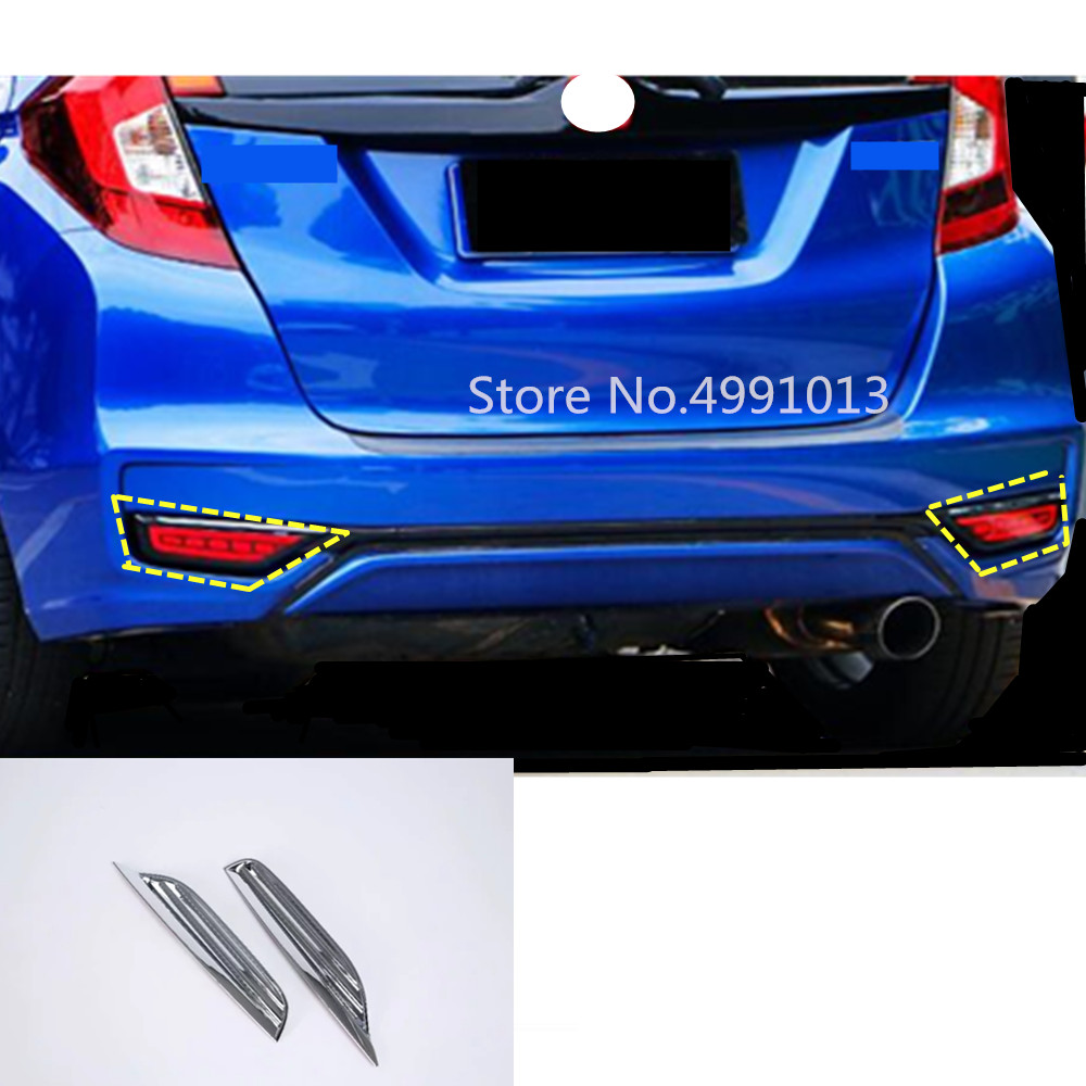 ABS Chrome Fit For Honda Fit 2015-2017 Rear Tail Fog Light Lamp Cover Frame Trim