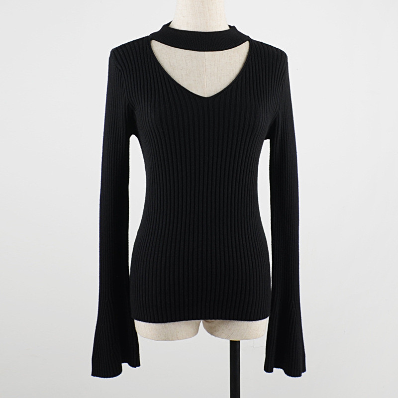 BINWEN15 Fashion Woman Sweaters 2018 Feminine Clothes Office Lady Flare Sleeve Halter Women's Sweater Knitted Pullover Female