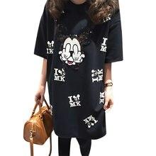 ebb34c2ce Ropas de maternidad embarazada mujeres ratón Impresión de dibujos animados  manga corta vestido ropa mamá camiseta de verano negr.