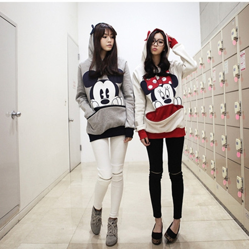 Minnie Mouse Costumes Minnie Mouse Hooded sweater Cosplay Korean womens loose sweater hooded cartoon Minnie Hoodie couple coat